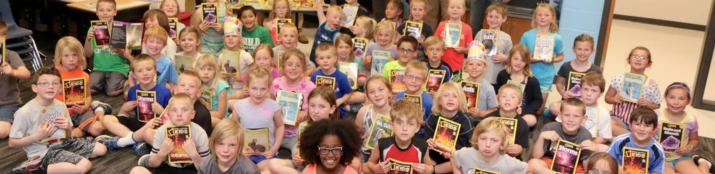1st grade class with books