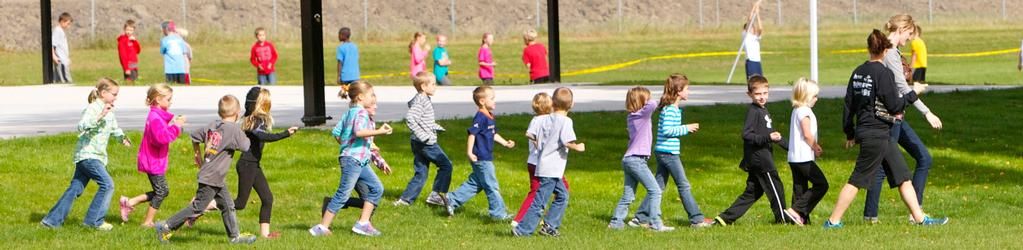 1st grade class walking outdoors